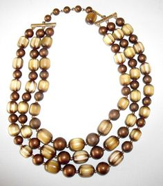Vintage Coro Bead Necklace Triple Strand Beads by designfrills
