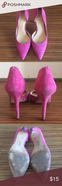 """Pink Jessica Simpson Claudette pumps Pink Jessica Simpson Claudette pumps, half d'orday style, 4"""" heel, some discoloration on the heel (see photos), good condition Jessica Simpson Shoes Heels"""