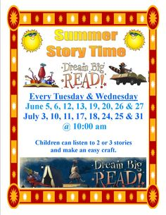 JCL-Windsor Branch hosts a Storytime every Tuesday and Wednesday at 10:00am.  Each weeks' storytime has a theme, children can come and listen to a few stories and do a simple craft based on that theme.