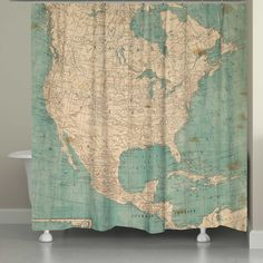 laural home north america map shower curtain in beige