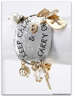 """""""Keep Calm & Carry On"""" Stamped Bracelet Chain and Charms Toggle Closure.7.5"""" Long  $18.99 Ships Free! http://shoppingbuyfaith.com/bracelets.html #ShoppingBuyFaith.Com #keepcalm #keepcalm&carryon #hammeredjewelry"""