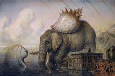 "El Hurgador [Arte en la Red]: Martin Wittfooth, ""Un día sin tren / A Day Without Train"", óleo sobre lienzo / oil on canvas, 36"" x 24"", 2008."