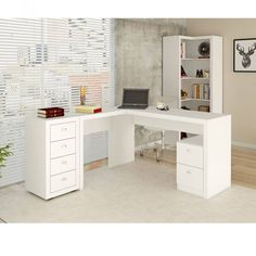 Foto 1 - Mesa Para Escritório, 2 Gavetas, Me4129 Tecno Mobili Fosco Branco Branco
