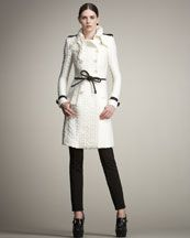 Cable-Knit Trenchcoat and Leather Tie Belt, Burberry Prorsum, bergdorfgoodman.com, $3995