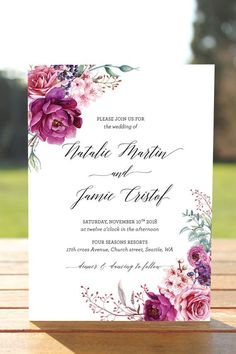 Bohemian Wedding Invitation Fall Wedding Invitation Suite