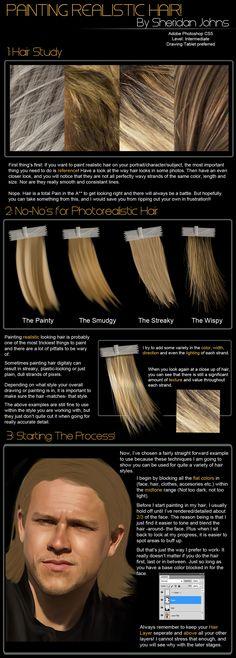 Painting realistic hair, part 1 http://sheridan-j.deviantart.com/art/Painting-Hair-Part-1-Intro-214400227