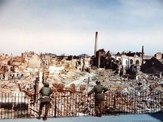 Here is what remains of the city of Darmstadt, Germany, a city of 110,000 people, which was almost completely wiped out by a daylight saturation air raid on September 12, 1944.