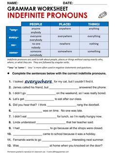 English Grammar Worksheet Indefinite Pronouns http://www.allthingsgrammar.com/indefinite-pronouns.html