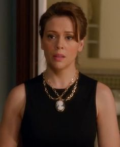 Mistresses episode 7: Savi's (Alyssa Milano) cameo necklace from Robyn Rhodes jewelry (& custom designed by Mistresses' costume designer Roemehl Hawkins) #getthelook #mistresses