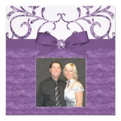 Purple Pastel & Diamond Swirls Bow Ribbon Wedding Announcement