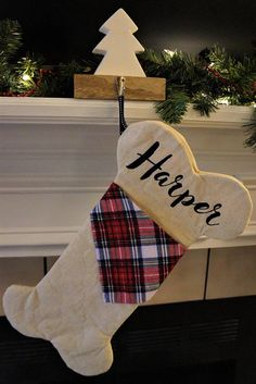 Personalized Dog Bone Christmas Stocking with Monogram or Name