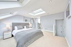 L-shaped loft conversion wimbledon modern style bedroom by homify modern Here you will find photos of interior design ideas. Get inspired! Attic Bedroom Designs, Attic Bedrooms, Modern Bedroom Design, Attic Design, Modern Decor, Loft Room, Bedroom Loft, Home Decor Bedroom, Bedroom Ideas
