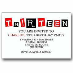 Personalised BOYS GIRLS Teenager 13th Birthday Party Invitations Invites T050