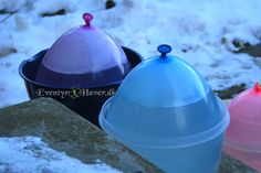 Use Plastic bowls to frees you balloon ice lanterns in. Leave them outside for aporx. 24 hours