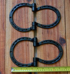 Hinges, horseshoes for shed, barn doors, gate, corral, Western decor, heavy duty, MADE TO ORDER