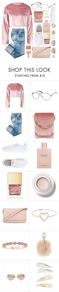 """""""Pink Velvet"""" by smartbuyglasses-uk ❤ liked on Polyvore featuring Boohoo, Cafuné, Puma, Gucci, Kate Spade, Love Is, Furla, Ray-Ban, Kitsch and Herbivore"""