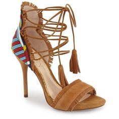 "Jessica Simpson 'Basanti' Fringe Lace-Up Sandal, 4 1/4"" heel ($110) ❤ liked on Polyvore featuring shoes, sandals, honey brown suede, leather sandals, brown sandals, brown leather shoes, jessica simpson sandals and brown platform sandals"