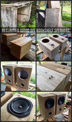 DIY Bookshelf speakers using reclaimed shed wood! Speakers sound amazing, they are Audio Nirvana classic speakers. Diy Bookshelf Speakers, Wooden Speakers, Cool Bookshelves, Diy Bluetooth Speaker, Diy Speakers, Homemade Speakers, Music Speakers, Wood Projects, Woodworking Projects