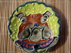Bull DogTerrier Dog Teaspoon Rest by sugargrovepottery on Etsy