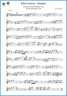 """Imagine"" - John Lennon score and playalong (Sheet music free) Alto Sax Sheet Music, Saxophone Music, Violin Sheet Music, Guitar Songs, Piano Music, Cello, Music Sheets, Imagine John Lennon, Ukulele"