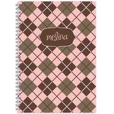 Pink Argyle Spiral Notebook