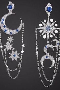Asymmetric Star / Moon Earrings