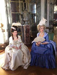 Robe à la française (white dress) and robe à la sultane (light blue) #robe à la #française #robe à la #sultane #marieantoinette #rose #1780s #1770s #historical #dress #pouf #hair #rose #bertin #vigée le #brun