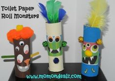 Toilet Paper Roll Craft-Halloween Craft-Toilet Paper Roll Monsters