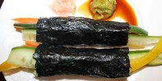 Nori Wraps  1-2 avocados  1 carrot  1 cucumber  1 zucchini  ½ red or yellow pepper (capsicum)  1 shallot (eschalot)  Wasabi (optional)  4 nori sheets