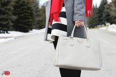 grey saffiano leather tote #bag :: #Prada