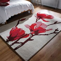 The Elegance Bud Rug features a cream background with an artistic floral design in red and pink tones. Double Roller Blinds, Modern Floral Design, Pink Room, Red Rugs, Open Plan Living, Rug Making, Cozy House, Traditional Design, Rugs On Carpet