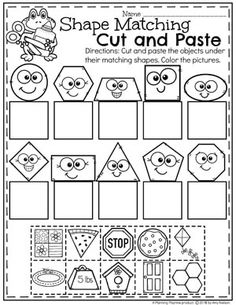 This activity fits into the standard by comparing two-dimensional geometric shapes to real life objects that students are aware of. The students are developing methematical arguments about geometric relationships to real life objects. Jolly Phonics Activities, Preschool Learning Activities, Preschool Curriculum, Preschool Printables, Preschool Kindergarten, Kids Learning, Homeschooling, Shape Worksheets For Kindergarten, Preschool Forms