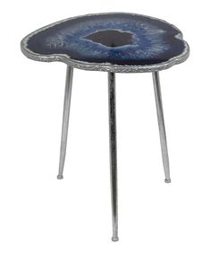 Another great find on #zulily! Blue Silver Leaf Side Table by Privilege #zulilyfinds