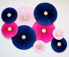 Wedding Backdrop - Paper Rosettes - Paper Pinwheels - Paper Fans - Pinwheel Backdrop - Hot Pink Bridal Shower - Navy and Pink Wedding