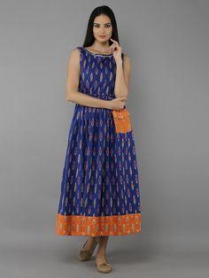 Indigo Blue and Orange Cotton Long Kurti Kalamkari Dresses, Ikkat Dresses, Casual Frocks, Lehnga Dress, Kurta Designs Women, Fancy Blouse Designs, Indian Designer Wear, Indian Dresses, Cotton Dresses