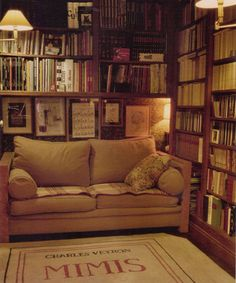 2120  Living With Books; Dupuich    A very comfortable-looking book room in a French apartment.
