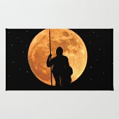 The sentinel Area & Throw Rug by Pirmin Nohr - $28.00 A knight armed with a lance, is standing sentinel in front of the fullmoon.  night, warrior, stars, starry, silhouettes, moon, fantasy, mystical, mythology