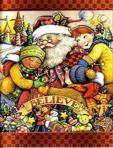 MARY ENGELBREIT BLANK NOTE CARDS BELIEVE SANTA CHILDREN CHRISTMAS IN JULY FUN