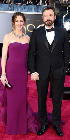 Jen and Ben get #GlamInGucci & take a night away from the fam. Get her simple fuschia silhouette with Badgley Mischka from #RTR http://www.renttherunway.com/shop/designers/badgleymischka_dresses/fluorescentchiffongown #Oscars #RedCarpetSteal