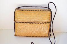 vintage braided straw bag