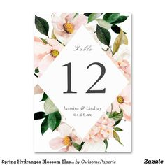 Shop Spring Hydrangea Blossom Blush Pink Floral Wedding Table Number created by OwlsomePaperie. Card Table Wedding, Wedding Table Numbers, Wedding Cards, Watercolor Wedding, Floral Watercolor, Modern Wedding Invitations, Table Cards, Hydrangea, Floral Wedding