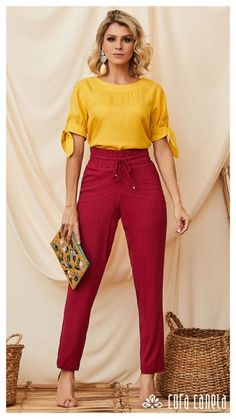 Style for work Colour Combinations Fashion, Color Combinations For Clothes, Color Blocking Outfits, Colourful Outfits, Colorful Fashion, Trousers Women Outfit, Red Culottes Outfit, Yellow Pants Outfit, Women's Trousers