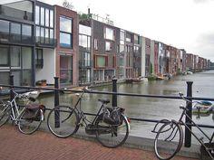 Scheepstimmermannstraat in Amsterdam. Inspiration for creekside housing, canal bridges, & cycling!