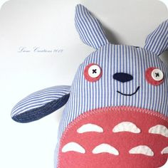 Sailor Totoro soft toy: blue/ white/ pink
