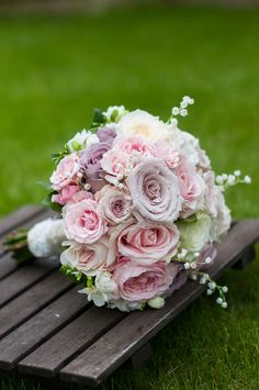 Wedding Collage lavender pink and white rose bouquet