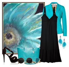 turquoise + black by melisali on Polyvore featuring polyvore, fashion, style, Cosabella, Etro, Forever 21, Coach, Lipsy, Monsoon, Alexis Bittar and clothing