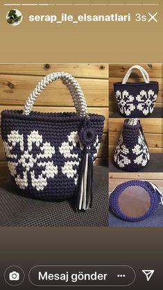 Tapestry Bag, Tapestry Crochet, Knit Crochet, Crochet Hats, Crochet Hat For Beginners, Crochet Basket Pattern, Crochet Handbags, Knitted Bags, Handmade Bags