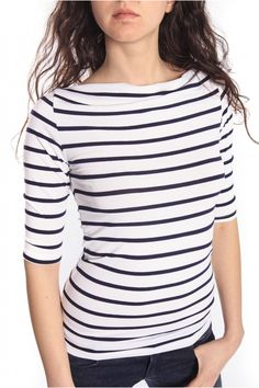 Denny Rose T-shirt blue-and-white striped 46DR61017