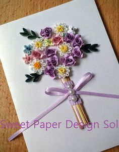 Paper Quillied beautiful Flower Bouquet - Wedding card,Mothers day,Happy Birthday,Congratulations , Happy Anniversary Card by SweetPaperDesignSol on Etsy
