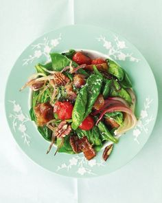 Warm Spinach Salad with Bacon, Tomatoes, and Pecans @ http://www.marthastewart.com/317125/warm-spinach-salad-with-bacon-tomatoes-a?czone=food/lunch-recipes/salad-and-soup-recipes